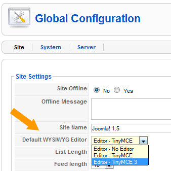 Setting TinyMCE 3 in Global Configuration