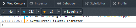 Javascript error displayed in Debugger