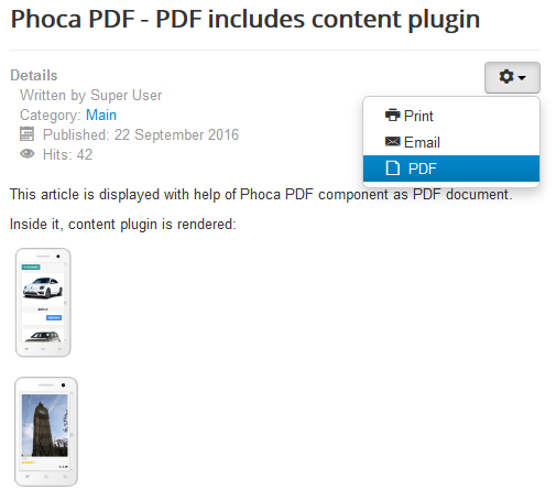 Phoca PDF - article displayed in frontend