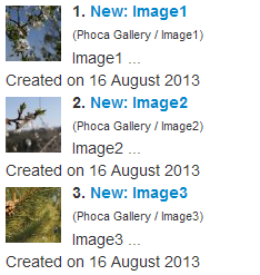 Phoca Gallery Search Plugin - search outcomes - small thumbnails