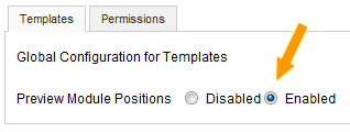 Joomla! Preview Module Positions enabled