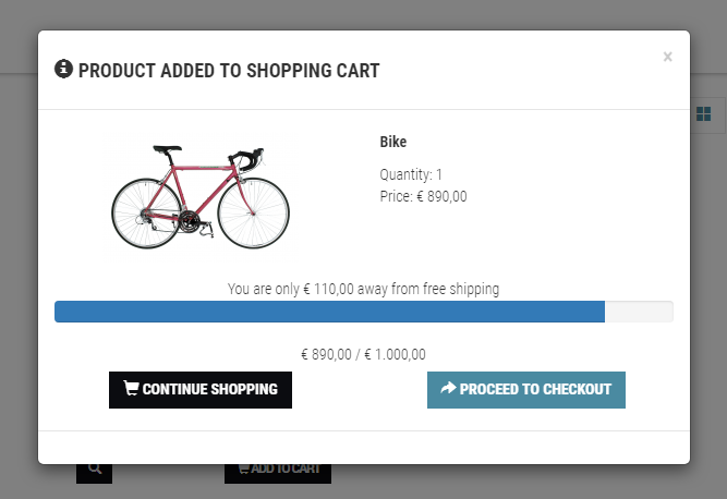 Phoca Cart View - Free Shipping Info Plugin