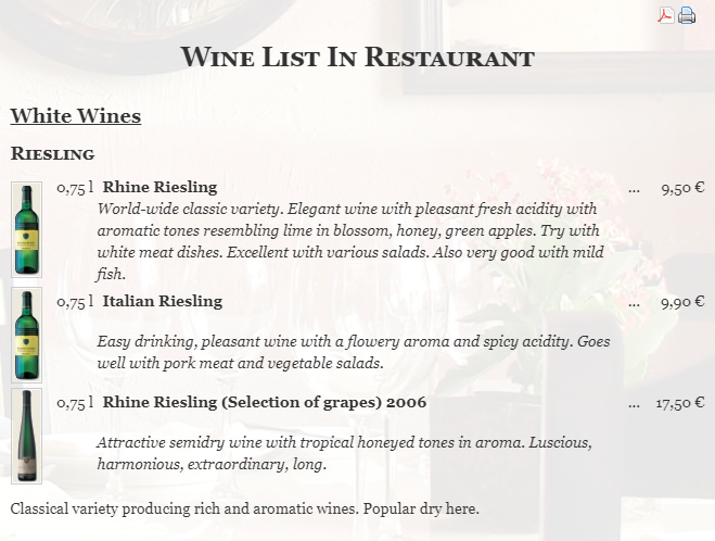 Phoca Restaurant Menu - Display a wine list